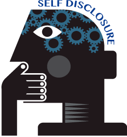 "graphic of person holding hand over mouth with words ""self disclosure"" overhead"